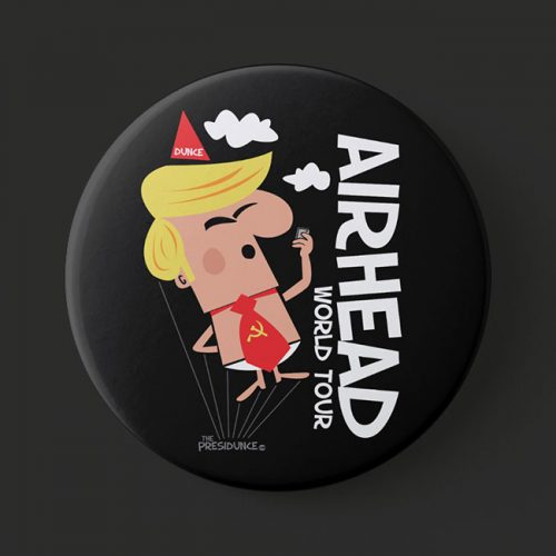 anti Trump, political button Airhead