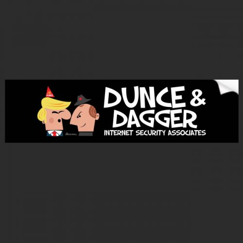 anti Trump, political bumper sticker Dunce & Dagger